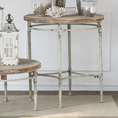 Wood Topped Round Accent Table