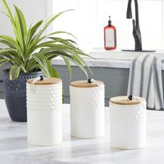 Country Cottage Stoneware Canisters Set of 3