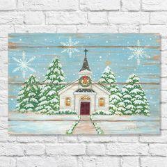 Snowy Christmas Church Canvas Art