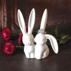 Ceramic Bunny Rabbit Ring Holder