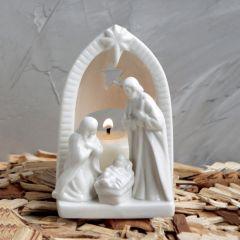 Ceramic Nativity Tealight Holder 4 Inch