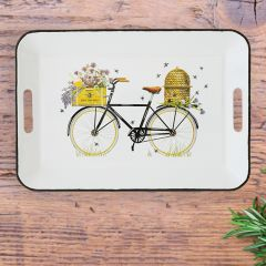 Bees and Bicycle Enameled Tray
