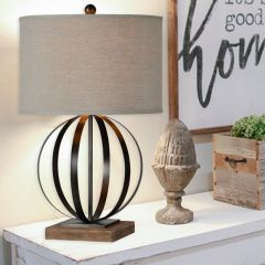 Sphere Lamp With Linen Drum Shade