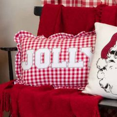 Check Ruffle Jolly Pillow