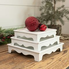Chic Farmhouse Stacking Tabletop Risers Set of 3