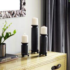 Chic Stoneware Candle Holder Set of 3