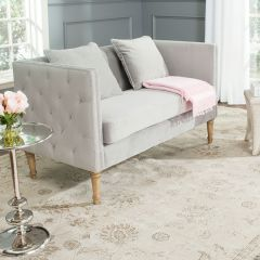 Chic Velvet Settee With Button Tufted Back
