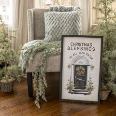 Christmas Blessings Framed Wood Wall Sign