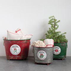 Christmas Market Metal Bucket Planters Set of 3