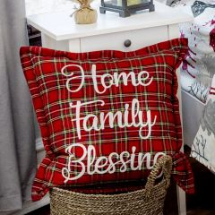 Christmas Plaid Home Family Blessing Pillow Cover