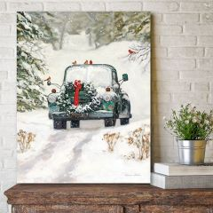 Christmas Truck With Wreath Canvas Wall Art