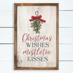 Christmas Wishes and Mistletoe Kisses Greenery Whitewash Wall Art