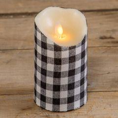 Classic Buffalo Check Flameless Pillar Candle