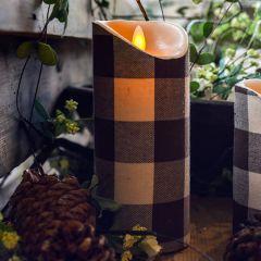 Buffalo Check Flameless Pillar Candle, 7 Inch