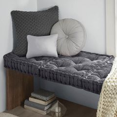 Classic Cottage Charcoal Square Floor Cushion
