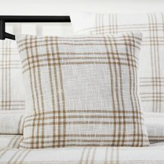 Classic Country Wheat Plaid Throw Pillow 18x18