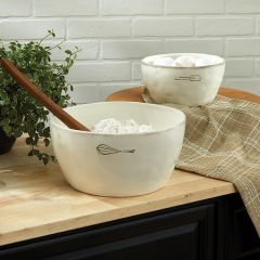 Classic Cream Farmhouse Mixing Bowl Set of 2