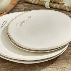 Classic Cream Farmhouse Spoon Salad Plate Bundle