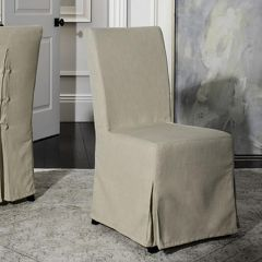 Classic Dining Chair With Neutral Slipcover Set of 2