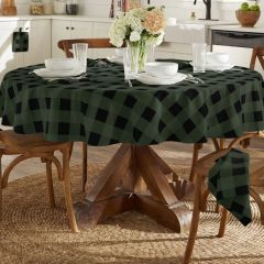 Classic Holiday Green and Black Buffalo Check Round Tablecloth