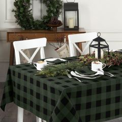 Classic Holiday Green and Black Buffalo Check Tablecloth