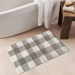 Classic Neutral Buffalo Check Bath Mat