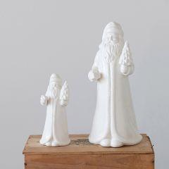 Classic White Stoneware Santa Set of 2