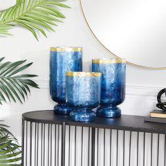Coastal Living Glass Candle Holders Set of 3