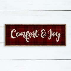 Comfort And Joy Plaid Red Wall Sign