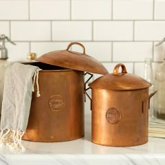 Copper Colored Metal Storage Canisters, Set of 2