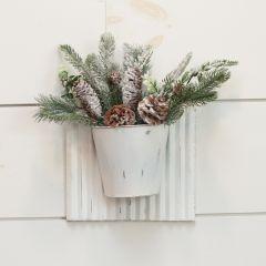Corrugated White Metal Wall Planter