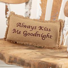 Cotton Burlap Always Kiss Me Goodnight Fringed Pillow