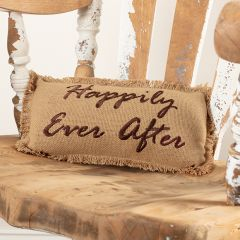 Cotton Burlap Happily Ever After Fringed Pillow