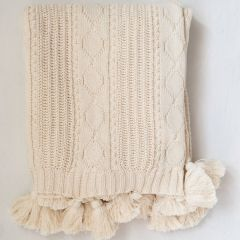 Cotton Knit Cable Throw Blanket