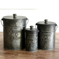 Country Living Embossed Metal Canister Set of 3