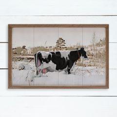 Cow In Field Of Snow Framed Wall Art