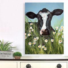 Cow In Flower Field Canvas Wall Art