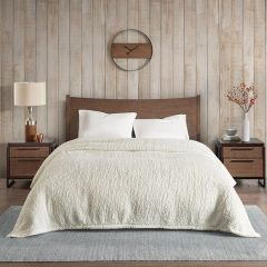 Cozy Berber Bed Blanket Ivory