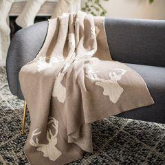Cozy Reindeer Silhouette Throw Blanket