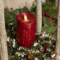 Cranberry Flameless Holiday Pillar Candle