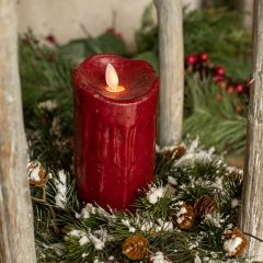 Cranberry Flameless Holiday Pillar Candle One of Each