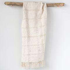 Cream Cotton Blend Chenille Throw Blanket