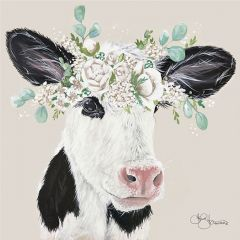 Crown of Flowers Cow Wall Art