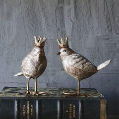 Crowned Bird Figurines Set of 2
