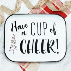 Cup of Cheer Enamelware Serving Tray