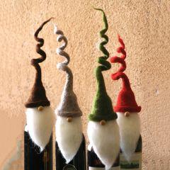 Curly Hat Santa Felt Wine Topper Set of 4