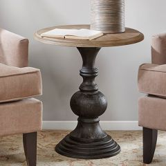 Reclaimed Wood Round Accent Table