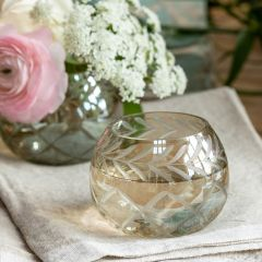 Etched Glass Accent Element Round Votive 3 Inch
