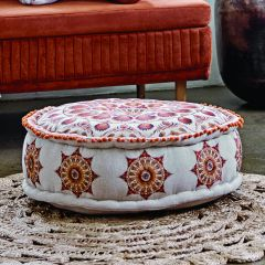 Multicolor Embroidered Pouf Cushion