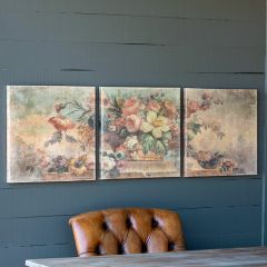 Vintage Inspired Floral Canvas Print Trio